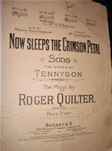ANTIQUE ORIGINAL SHEET MUSIC 1904 NOW SLEEPS CRIMSON PETAL ROGER QUILTER BOOSEY